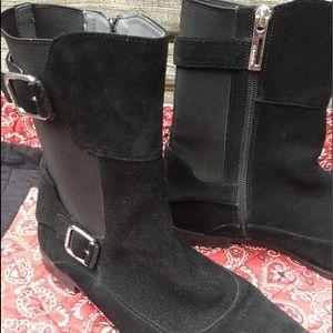 Calvin Klein Mod Ankle Boots Black Suede sz 8.5